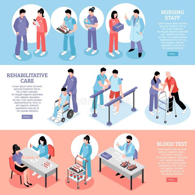 Szpitalni Horyzontalni Izomeryczni sztandary Ustawiający ilustracji