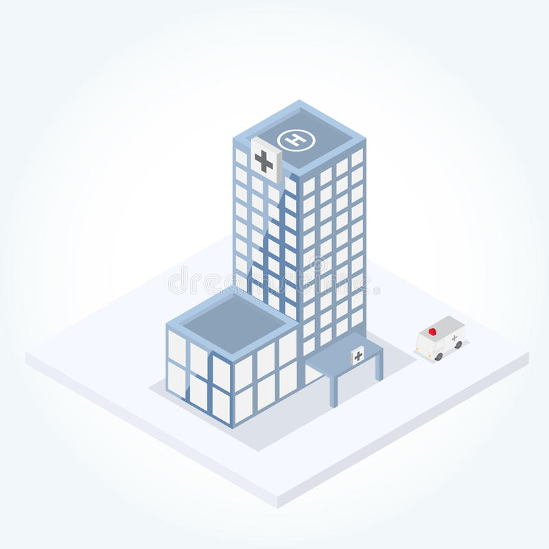 szpitalny budynek w isometric widoku royalty ilustracja