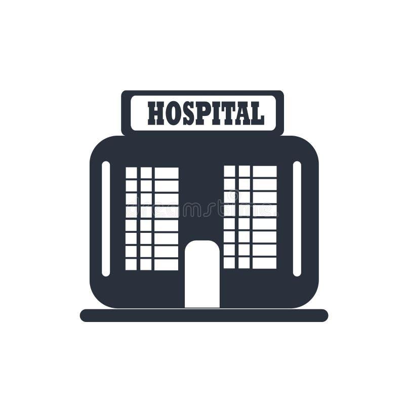 Szpitalny budynku przodu ikony wektoru znak i symbol odizolowywający na białym tle, Szpitalny budynku przodu logo pojęcie royalty ilustracja