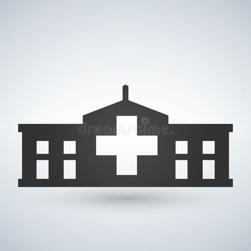 Szpitalny ikona krzyża budynek odizolowywał ludzkiego medycznego widok ilustracja wektor