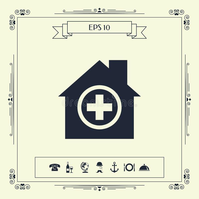 Szpitalny ikona symbol ilustracji