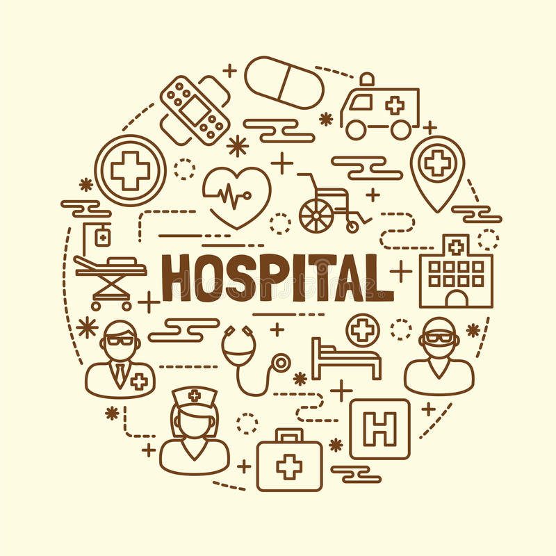 Szpitalny minimalny cienieje kreskowe ikony ustawiać ilustracji