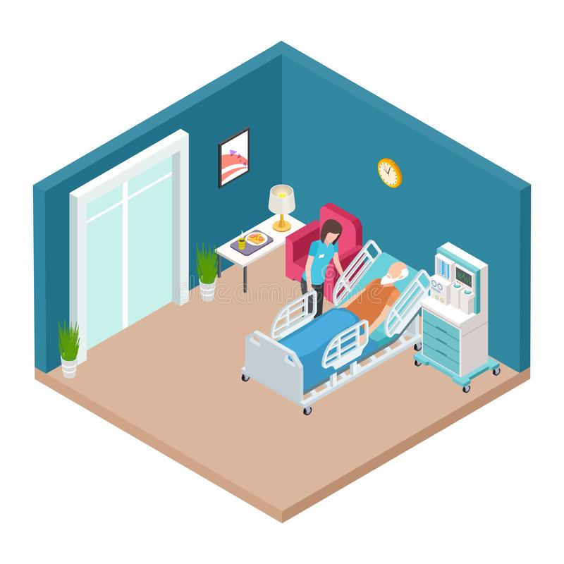 Szpitalny oddział, resuscitation wnętrza wektor Isometric pielęgniarki czułość dla starego mężczyzny ilustracji