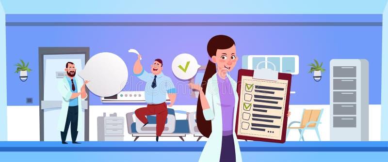 Szpitalny oddział Z Żeńskim pielęgniarki mienia Clapboard Nad lekarką Egzamininuje pacjenta ilustracji