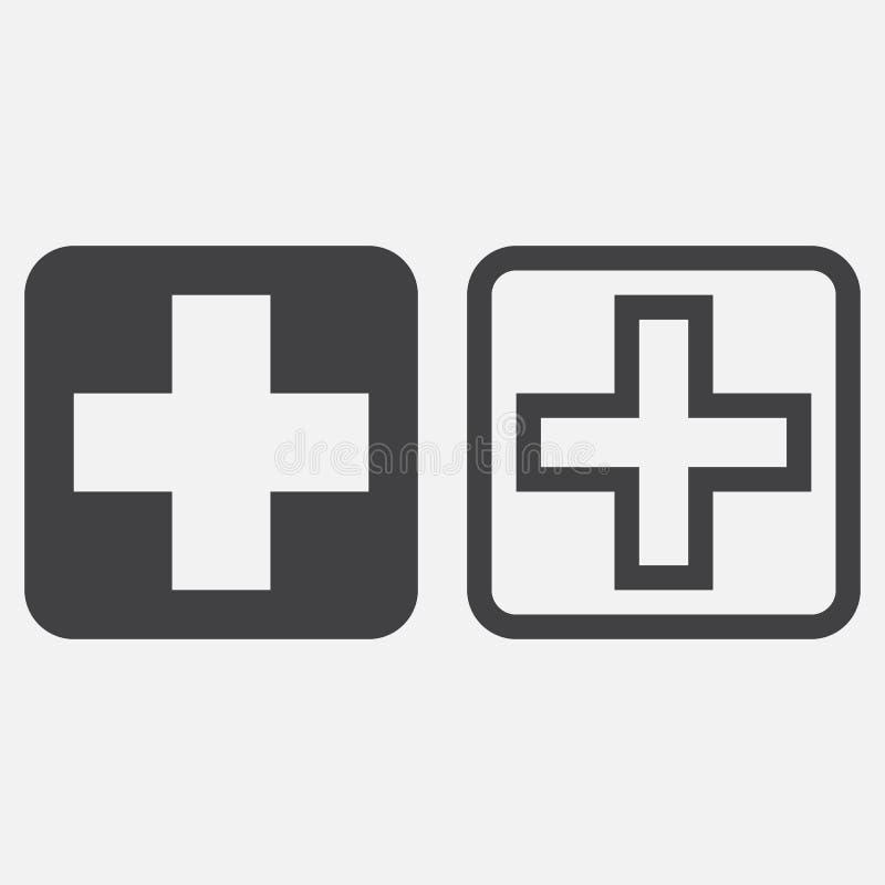 Szpitalny symbol, przecinający ikona wektor odizolowywający na bielu ilustracja wektor