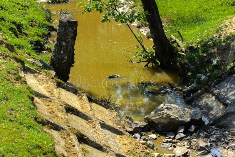 Szpotawy i obdrapany stary kanał z brudną wodą conce obrazy royalty free