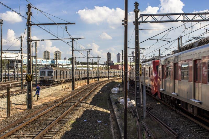 Sztachetowa linia Sao Paulo metropolita pociągu firma zdjęcia royalty free