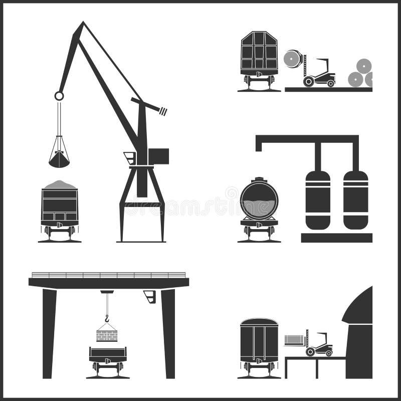 Sztachetowi frachtowi samochody i ładunków systemy ilustracja wektor