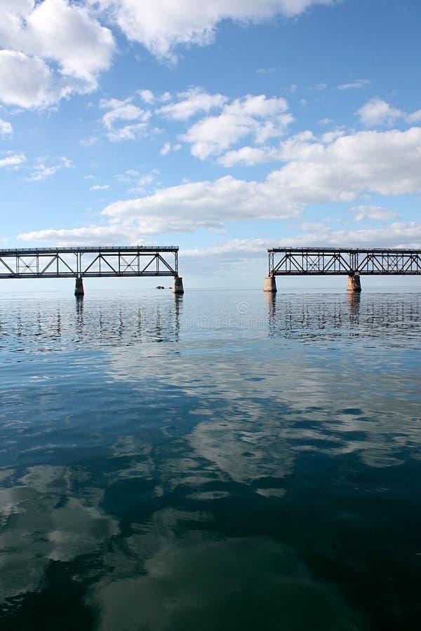 Sztachetowy most przy Bahia Honda w Floryda Wpisuje pokazywać odbicia i chmurnych nieba fotografia royalty free