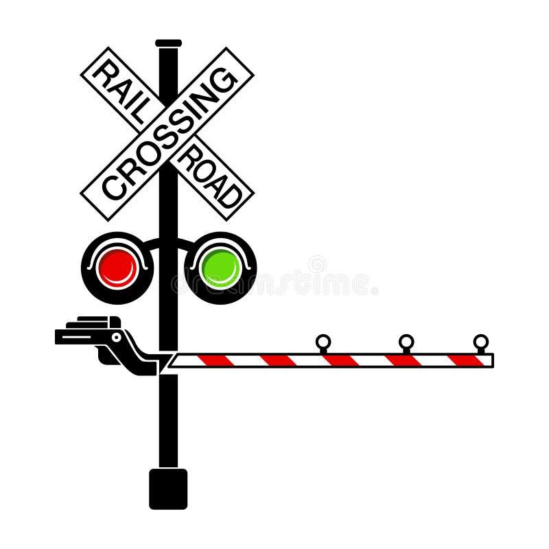 Sztachetowy skrzyżowanie sygnał ikony, prosty styl ilustracji