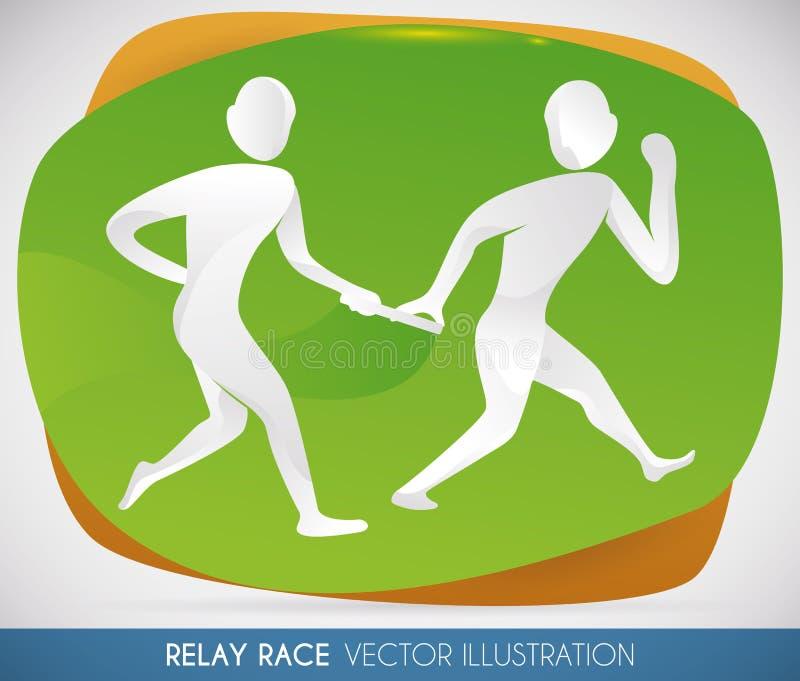 Sztafetowej rasy uczestników sylwetki dla sporta wydarzenia, Wektorowa ilustracja royalty ilustracja