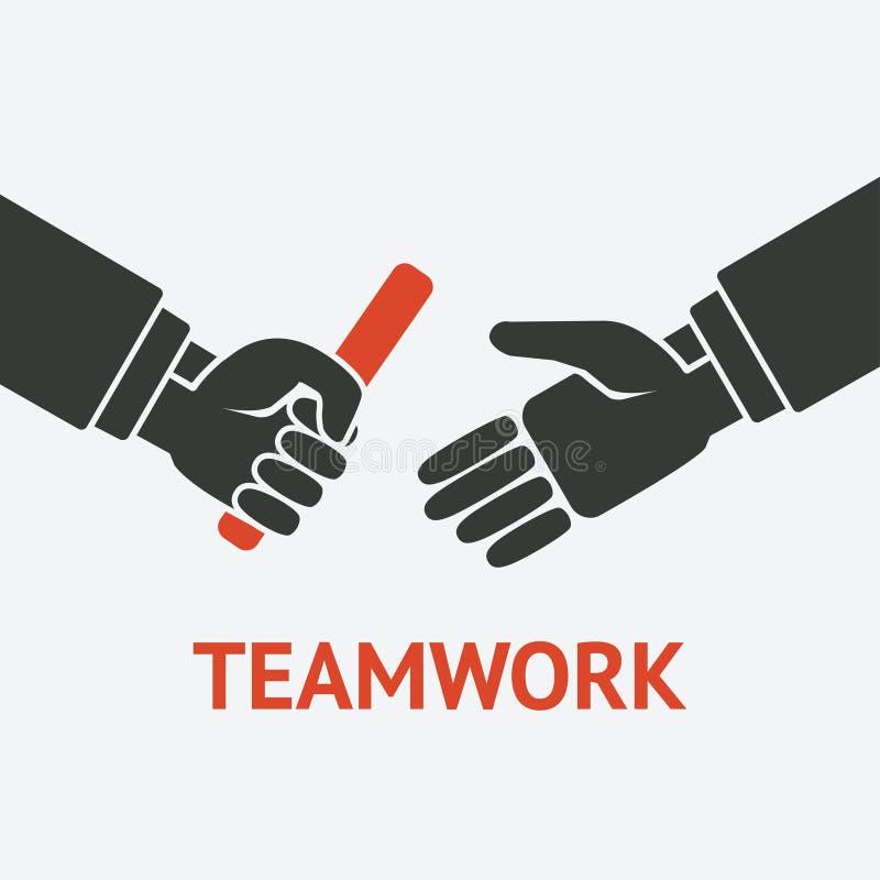 Sztafetowy pracy zespołowej pojęcia symbol ilustracji