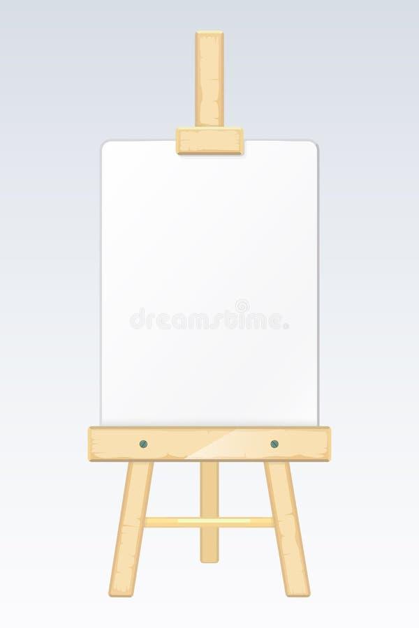 Sztaluga, maluje biurko, rysownica z pustą białą brezentową wektorową ilustracją ilustracja wektor