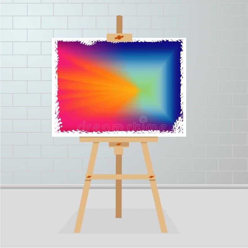 Sztaluga z obrazem na kanwie Galeria sztuki pokój Obrazek z wibrującym koloru gradientem royalty ilustracja
