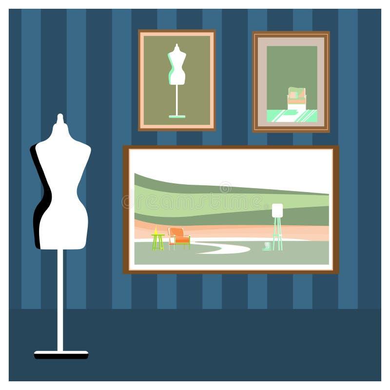 Sztalugi lub obraz sztuki deski z kanwą ilustracja wektor