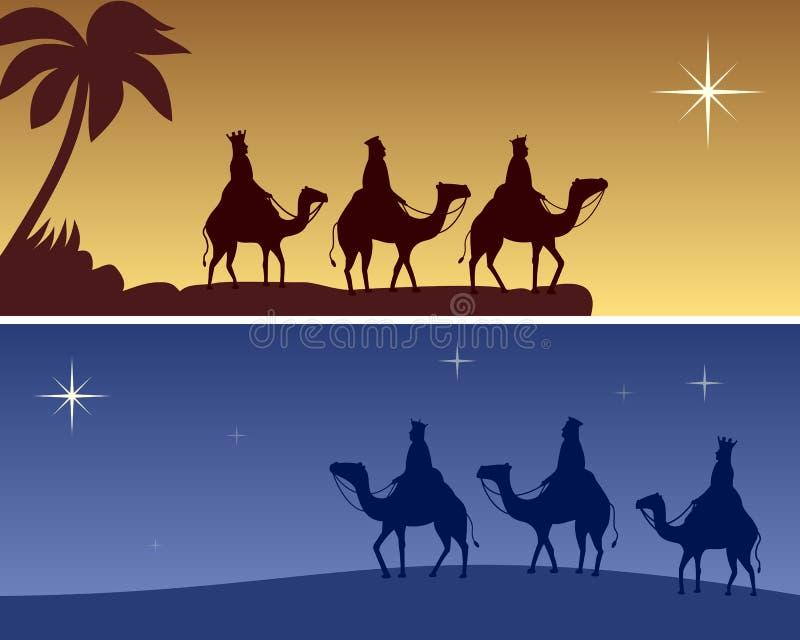 sztandarów boże narodzenia wisemen royalty ilustracja