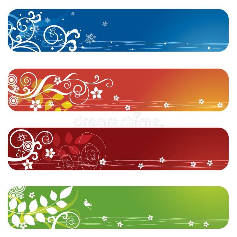 sztandarów bookmarks kwieciści cztery ilustracji