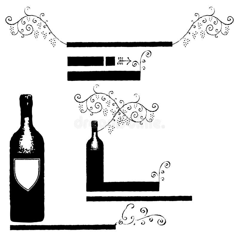 sztandarów etykietek wino ilustracja wektor