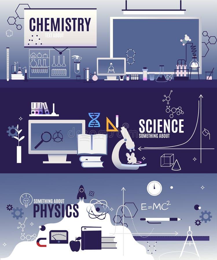 Sztandarów horyzontalni wektorowi płascy kursy w physics, chemia, naukowa biologia Łupek, chemiczna formuła, voltmeter zdjęcia stock