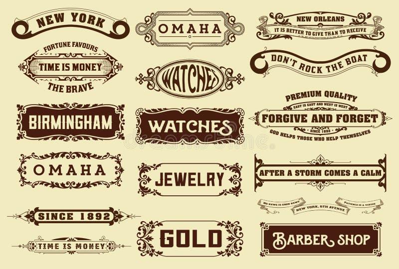 17 sztandarów i etykietki ilustracji
