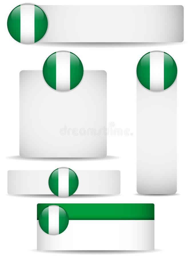 sztandarów kraju Nigeria set royalty ilustracja