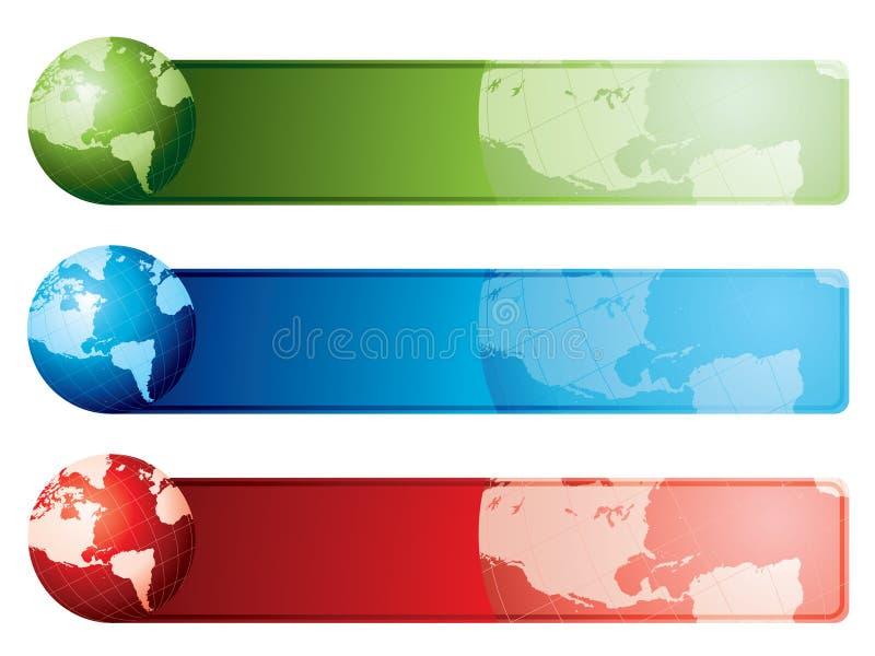 sztandarów mapy świat ilustracji