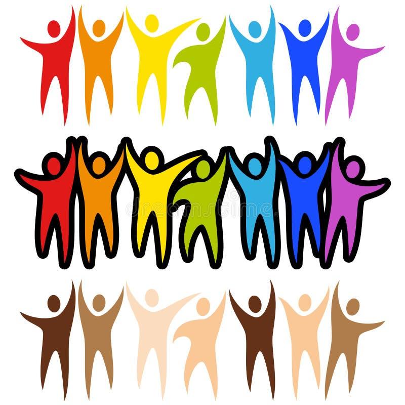 sztandarów różnorodności ludzie ilustracja wektor