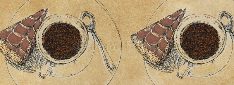 Sztandarów szablony z tortem i kawą ilustracji