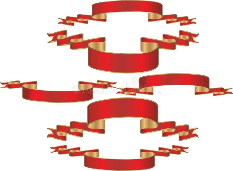 sztandarów złota czerwień royalty ilustracja