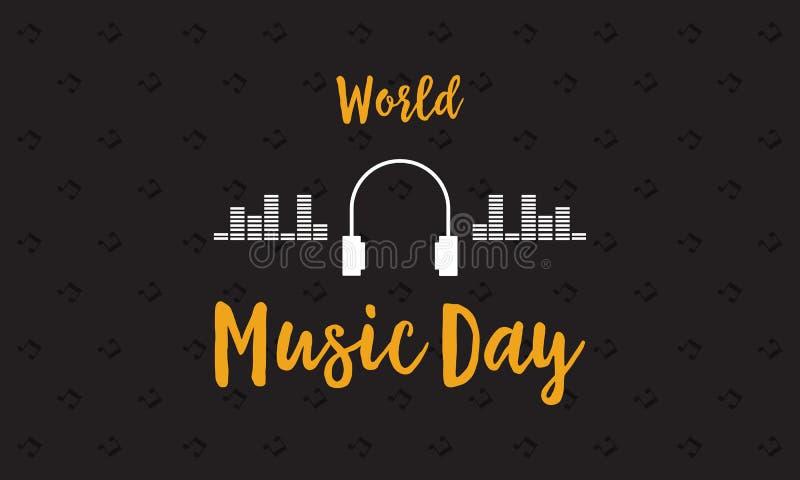 Sztandar światowy muzyczny dnia wektoru mieszkanie ilustracji