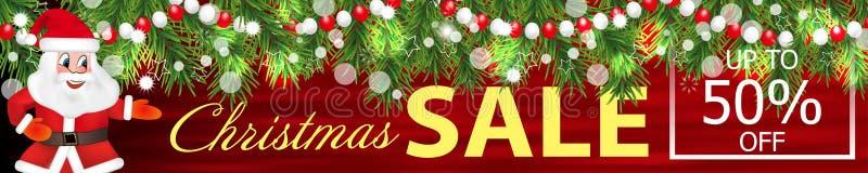 Sztandar Bożenarodzeniowa sprzedaż z girlandą choinek gałąź, koraliki i śmieszny Święty Mikołaj, wektor ilustracja wektor
