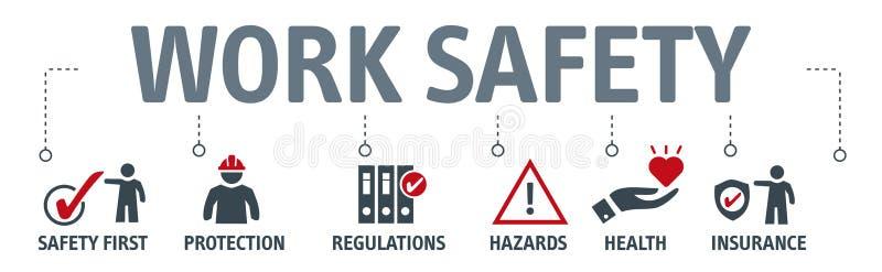 Sztandar budowy bezpieczeństwa Standardowy pojęcie ilustracja wektor