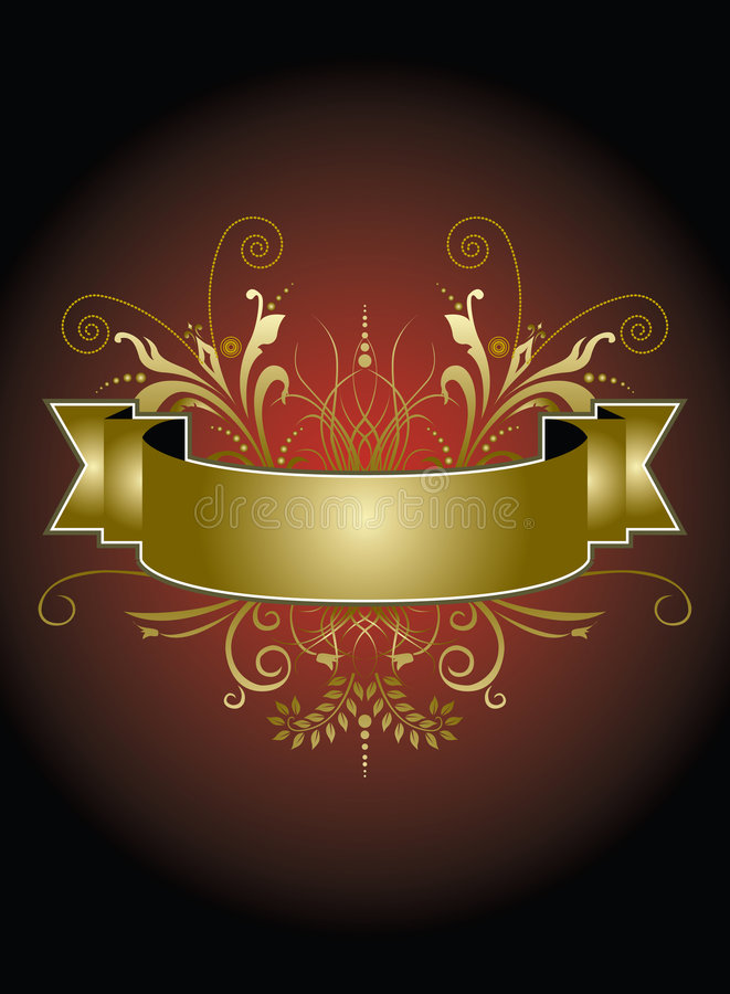 sztandar czerwień elegancka złocista ilustracji