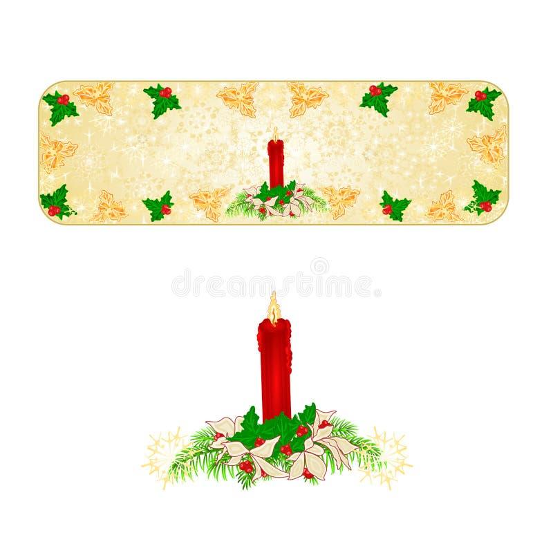 Sztandar dekoraci Bożenarodzeniowi płatki śniegu candlestick i poinseci czerwony rocznika wektorowy ilustracyjny editable ilustracji