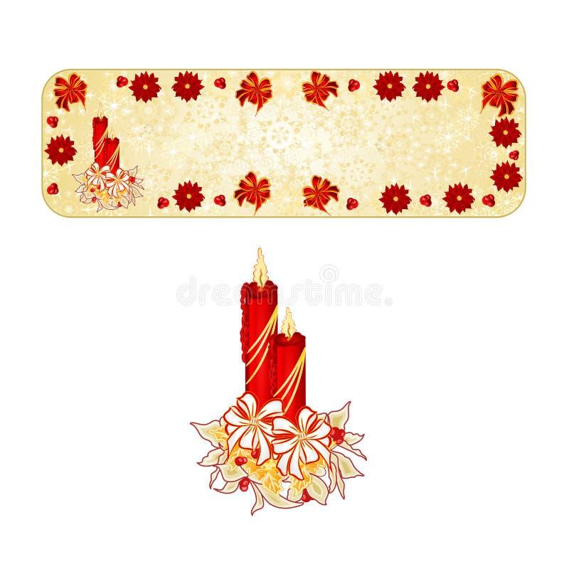 Sztandar dekoraci Bożenarodzeniowi płatki śniegu z candlestick royalty ilustracja