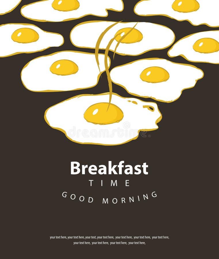 Sztandar dla śniadaniowego czasu z smażącymi jajkami ilustracji
