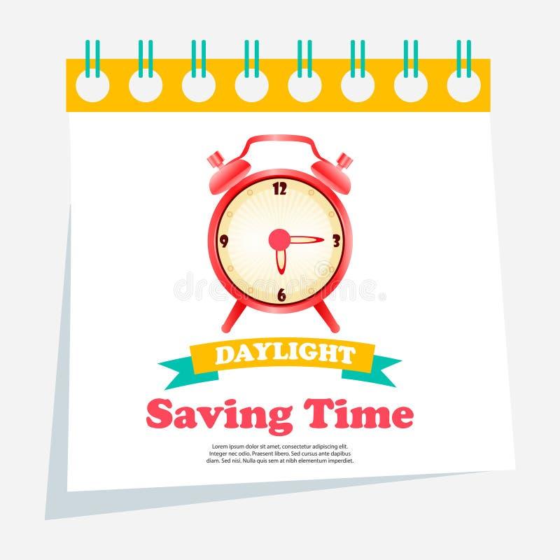 Sztandar dla światła dziennego oszczędzania czasu z budzikiem ilustracji