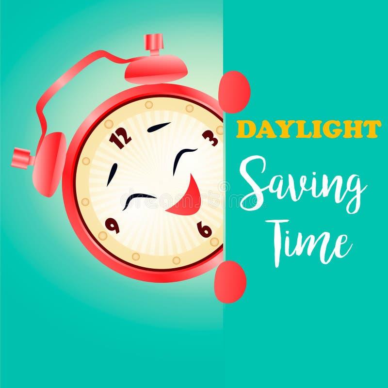 Sztandar dla światła dziennego oszczędzania czasu z budzikiem royalty ilustracja