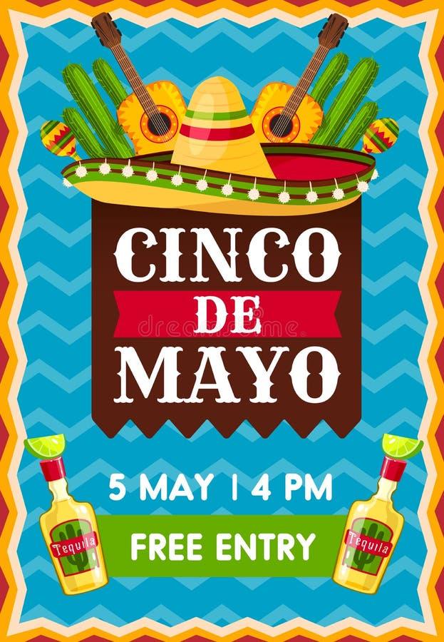 Sztandar dla Cinco de Mayo przyjęcia ilustracji