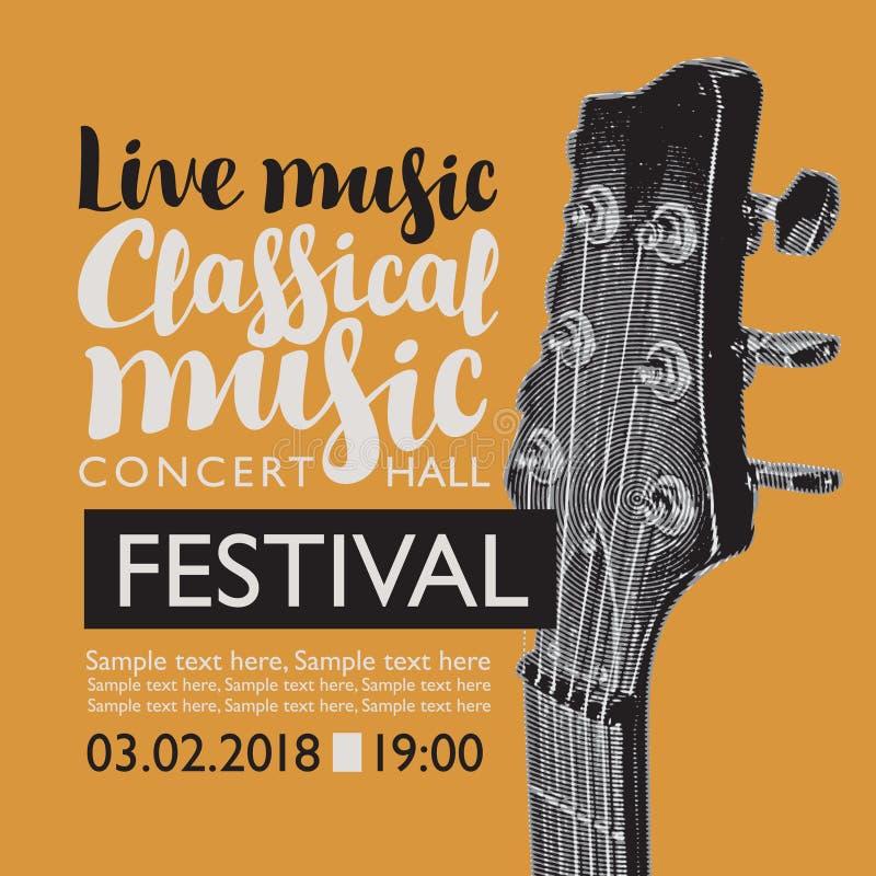 Sztandar dla festiwalu muzyka na żywo z gitary szyją ilustracja wektor