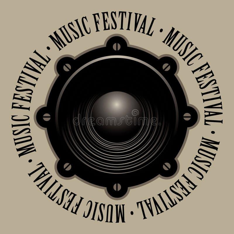 Sztandar dla festiwalu muzyki z akustycznym mówcą ilustracja wektor