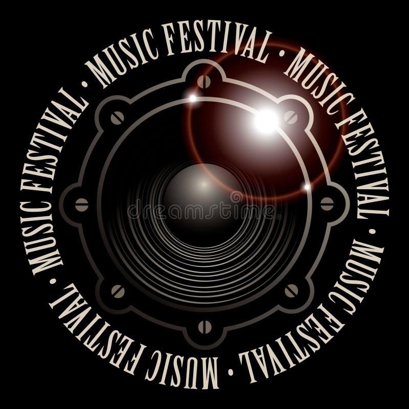 Sztandar dla festiwalu muzyki z akustycznym mówcą royalty ilustracja