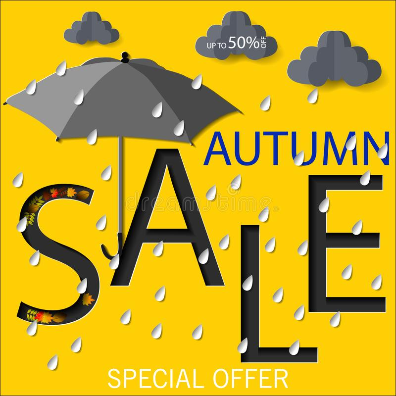 Sztandar dla jesieni sprzedaży z kolorowym sezonowym spadkiem opuszcza i rowan dla robić zakupy dyskontową promocję ilustracja wektor