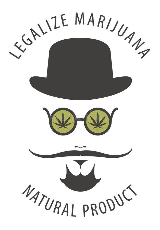 Sztandar dla legalizuje marihuany z modnisia mężczyzna ilustracji