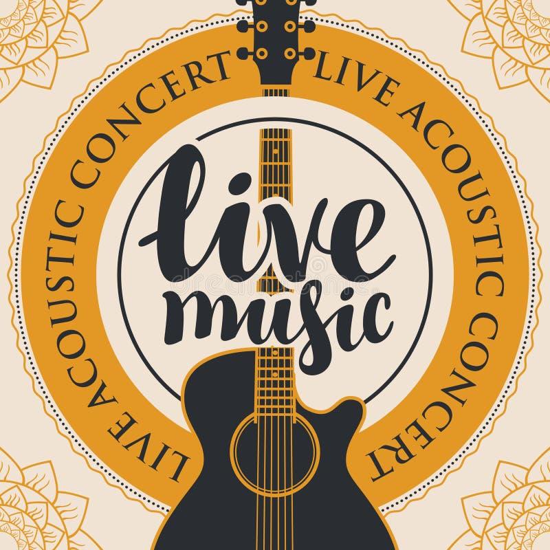 Sztandar dla muzyka na żywo z gitarą akustyczną royalty ilustracja