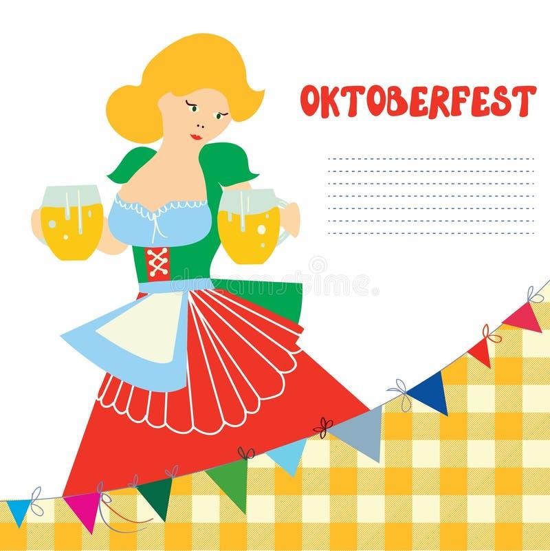 Sztandar dla Oktoberfest z dziewczyną i piwem royalty ilustracja