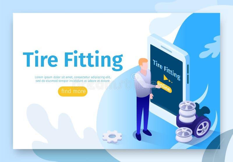 Sztandar dla Onlinego gmerania opony dopasowania usługi royalty ilustracja