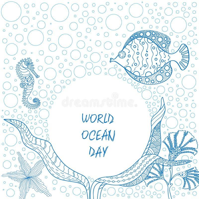 Sztandar dla ?wiatowego oceanu dnia z pi?knym widokiem morskie fauny nad Ziemskimi ` oceanami w r?ka rysuj?cym stylu royalty ilustracja
