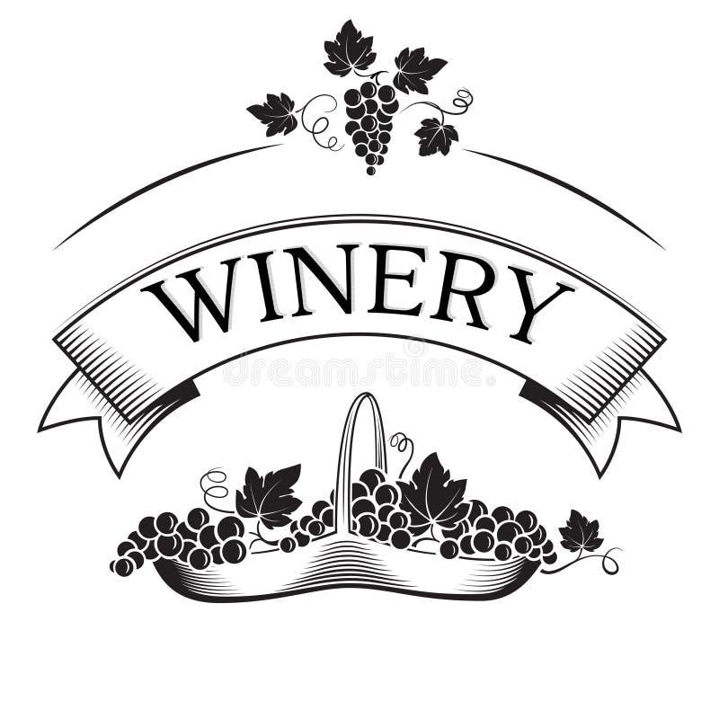 Sztandar dla wytwórnii win, wino lub kosz z winogronami ilustracji