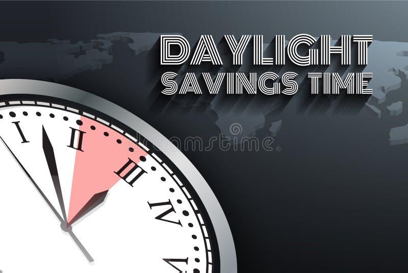 Sztandar dla zmiany twój zegar wiadomość dla światła dziennego oszczędzania czasu ilustracji